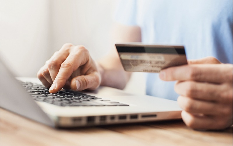 person making secure online payment